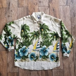Tommy bahama 100% silk palm tree button down